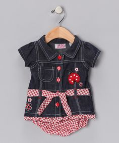 Young Hearts  Denim Ladybug Dress & Diaper Cover