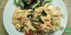 Hähnchenbrust mit Zucchini und Tomaten in cremiger Frischkäsesauce, low carb Diät rezept