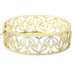 "Katie Decker ""Lotus"" 18k Yellow Gold and Diamond Cuff Bracelet (80.720 DKK) found on Polyvore"