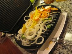 make fajitas on your panini grill. first grill your chicken, then throw on all the veggies. grilled onions are divine