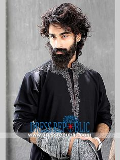 Designer Indo-western Menswear Suits 2014 Black Embroidered Kurta Dress By Eden Robe. We are a leading Mens Kurta Exporter to Desi Stores in the UK. Manchester Phone 44 (0) 161 408-8994. by www.dressrepublic.com Blue Sherwani, Ethnic Fashion, Mens Fashion, Manchester, Menswear, Suits, Black, Dresses, Design