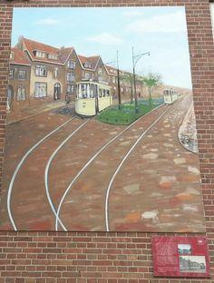 Muurschildering op de Rijnlaan thv Maaspleinschool.