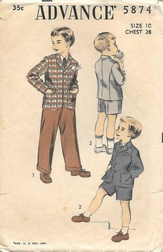 b258f6c1cd Boys 12-Advance 5874 1950s Suit with Shorts Vintage Sewing Pattern Chest 28  Pants Jacket Shorts