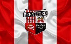 Download wallpapers Brentford FC, silk flag, emblem, logo, 4k, Brentford, England, UK, English football club, Football League Championship, Second League, football