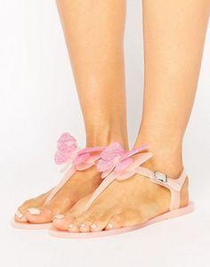Miss KG - Dina - Sandali piatti in gomma morbida con infradito e farfalle