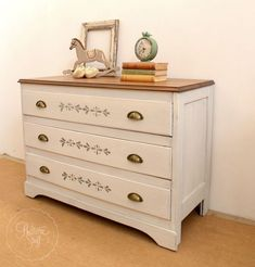 milk painted dresser with stencilled drawers, painted furniture