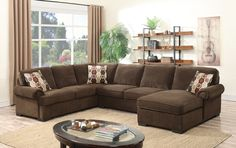 """3 pc Evelyn collection brown fabric upholstered sectional sofa with pull out sleeper.  This set includes the LAF Sofa, armless love seat with pull out sleeper and RAF chaise.  Sectional measures 138"""" x 100"""" x 37"""" H.  Some assembly required."""