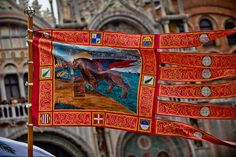 The flag of Venice, the Lion of St. Mark,