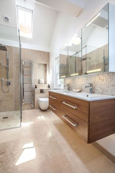 Contemporary Bathroom Using Natural Materials To Create Feeling Of Warmth Ed By Lofts And Extensions