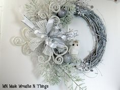 Winter Wreath, White Wreath, White Owl Wreath, Traditional Wreath, Christmas Wreath, Holiday Wreath, Front Door Wreath, Entry Wreath, Decor by MnMadeWreathsNThings on Etsy