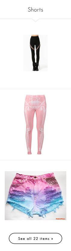 """""""Shorts"""" by colorfulcats ❤ liked on Polyvore featuring pants, leggings, pastel goth leggings, gothic pants, skeleton pants, skeleton print leggings, goth leggings, bottoms, pink and tights"""
