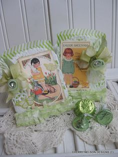 vintage easter bags set of two easter bags by cherrysjubileecards, $8.25