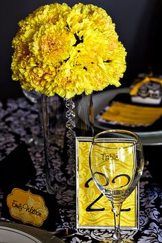 yellow and black centerpiece