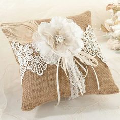 Exclusively Weddings | Rustic Burlap and Lace Ring Pillow