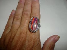 Clearance Big and Bold Rainbow Jasper Ring by missy69 on Etsy, $14.99