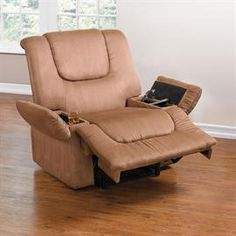 Plush Extra Wide Recliner With Storage Arms image