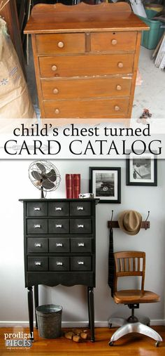 A Child's Chest of Drawers Becomes Faux Card Catalog by Prodigal Pieces | www.prodigalpieces.com