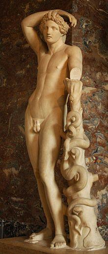 Apolo (en griego: Ἀπόλλων, transl. Apóllōn, o Ἀπέλλων, transl. Apellōn) fue una de las divinidades principales de la mitología greco-romana, uno de los dioses olímpicos. Era hijo de Zeus y Leto, y hermano mellizo de Artemisa, poseía muchos atributos y funciones, y posiblemente después de Zeus fue el dios más influyente y venerado de todos los de la Antigüedad clásica- Wikipedia, la enciclopedia libre