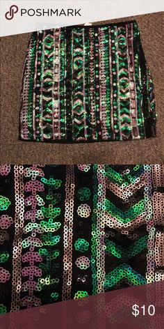 All over sequin skirt Body con. Wore once. Skirts Mini