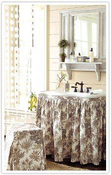 DIY sink skirt - extra bathroom storage.  {cheapchic}