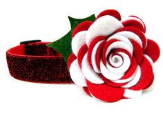 Dog Collar Holiday Flower Peppermint Twist by Dogologie
