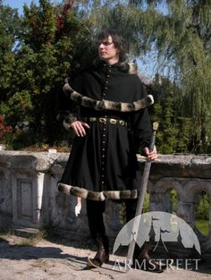 Medieval Wool Coat Tunic Garb - Tappert and Hood.