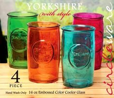 GLASS YORKSHIRE COOLERS - Mason Jar Style - 16oz Drinking Glasses - Assorted Colors - NEW - Gift Boxed Circleware http://www.amazon.com/dp/B00MSEYFA2/ref=cm_sw_r_pi_dp_7k9Sub0Z873XX