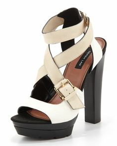 Mable Tricolor Ankle-Wrap Sandal by Derek Lam at Neiman Marcus.
