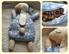 sweet snuggly rabbit pattern / cherry stone heat cushion (adorable ! tuto inside !)
