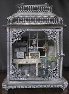 Beautiful monochrome shadow box/assemblage.