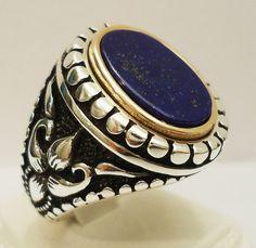 925 Sterling Silver Men's Ring with Lapis Lazuli Handmade Beautiful Design Free Resizing