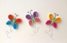 Piquants carte, © ElPetitTaller technique quilling papillons, Articles en papier, papeterie, printemps, insectes, papillons