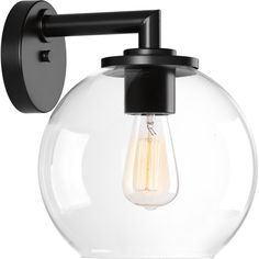 Progress Lighting Globe Lanterns H Black Medium Base Outdoor Wall Light at Lowe's. Classic in both form and function, the Globe lanterns provide a stylish update for the home. A clear glass diffuser is the perfect way to showcase vintage Outdoor Wall Lantern, Outdoor Wall Sconce, Outdoor Walls, Outdoor Wall Decorations, Barn Lighting, Outdoor Wall Lighting, Lighting Ideas, Lantern Lighting, Vanity Lighting