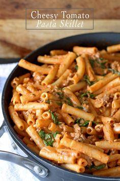 Cheesy Tomato Pasta Skillet