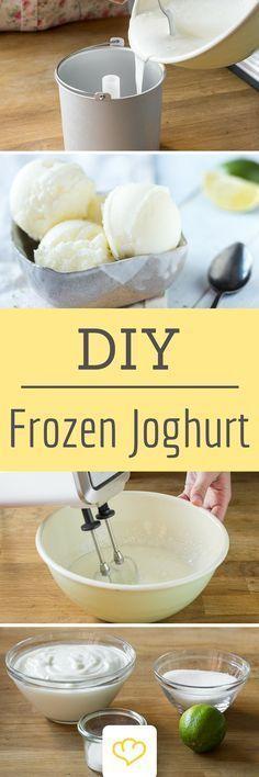 Für Frozen Joghurt anstellen? Diese Tage sind vorbei! Den kühlig cremen Joghurt-Genuss kannst du dir jetzt auch ganz einfach zu Hause gönnen! Und selbstgemacht schmeckt es sogar noch ein bisschen besser!
