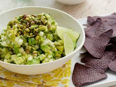 Pear and Pistachio Guacamole Recipe : Food Network Kitchen : Food Network - Diced pears and chopped roasted pistachios add a surprising crunch to this notoriously creamy dip. Healthy Mexican Recipes, Raw Food Recipes, Food Network Recipes, Cooking Recipes, Pear Recipes, Mexican Cooking, Dip Recipes, Fall Recipes, Yummy Recipes