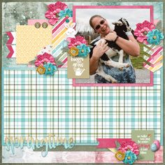 Digital scrapbook kit and templates: Hopping Into Spring by Pixelily Designs. Love the greens, pinks, blues, and yellows in this kit. Cute bunny and egg elements just make this kit pop!