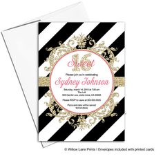 Birthday invitations for teens  sweet sixteen by WillowLaneEvents