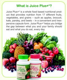 Juice plus. For more info please contact me w/questions! www.bostonnutrition.juiceplus.com