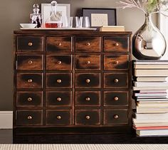 Could be great in hallway  14 deep and 37 wide. It's two drawers adn cabinet doors. not all small drawers Andover Cabinet #potterybarn