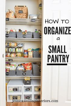 12 Clever Space-Saving Laundry Room Hacks - - This small organized pantry closet on a budget with shelves and baskets is full of cheap and easy ideas to keep all your food visible and easy to access! Small Pantry Closet, Pantry Closet Organization, Organized Pantry, Bathroom Organization, Organize Small Pantry, Food Pantry Organizing, Kitchen Organisation, Bathroom Storage, Closet Pantry Shelving