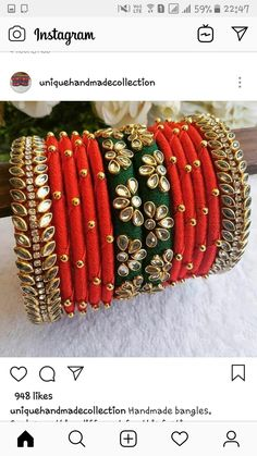 Kundan Bangles, Silk Bangles, Bridal Bangles, Silk Thread Bangles Design, Silk Thread Earrings, Thread Jewellery, Bead Embroidery Jewelry, Fabric Jewelry, Bangles Making