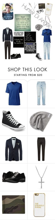 """""""Hunter Luca Di Angelo"""" by silver-water-moon ❤ liked on Polyvore featuring interior, interiors, interior design, home, home decor, interior decorating, Lands' End, Current/Elliott, Converse and Dsquared2"""