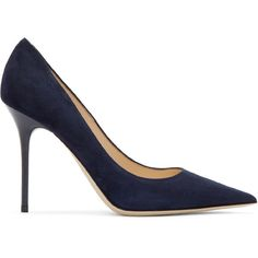Jimmy Choo Navy Suede Abel Heels (€550) ❤ liked on Polyvore featuring shoes, pumps, heels, pointed toe shoes, navy suede pumps, navy shoes, navy blue shoes and navy pumps