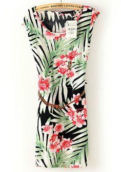 Multicolor Green Leaf Flowers Print Belt Cotton Dress
