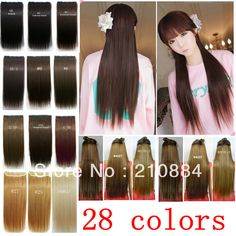 Free Shipping 28 Colors black U-pick New Women Long Straight Onepiece Clip in on Hair Extensions HairpieceS 120g 1Pcs $6.59