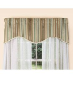 Satin Stitch Stripe Lined Scalloped Valance For kitchen..not in the color, but blue choice... From Country Curtains