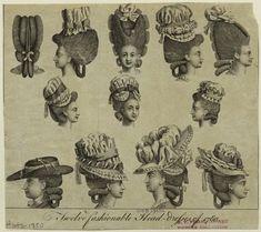 Twelve Fashionable Head-Dresses Of 1780. New York Public Library.