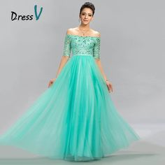 Dressv 2016 Mint Green Tulle Long Evening Dress Sexy A-Line Off The Shoulder Lace Half Sleeves beading Floor Length Prom Dress