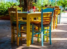 paros.  cute color tables & chairs.